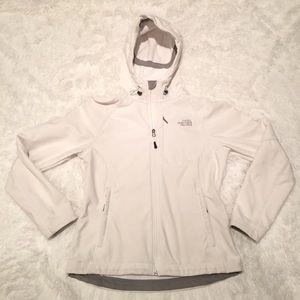Women's White Hardshell North Face Jacket w/ Hood